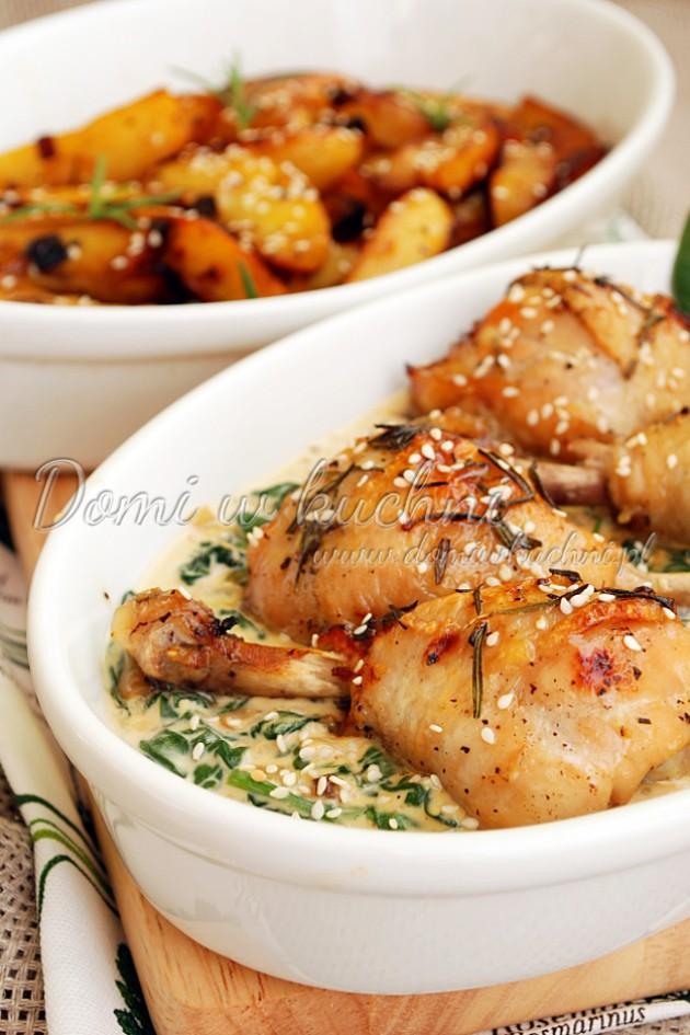 Pieczony kurczak na szpinaku