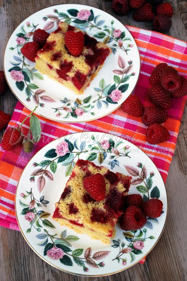 Odwrócone ciasto z malinami